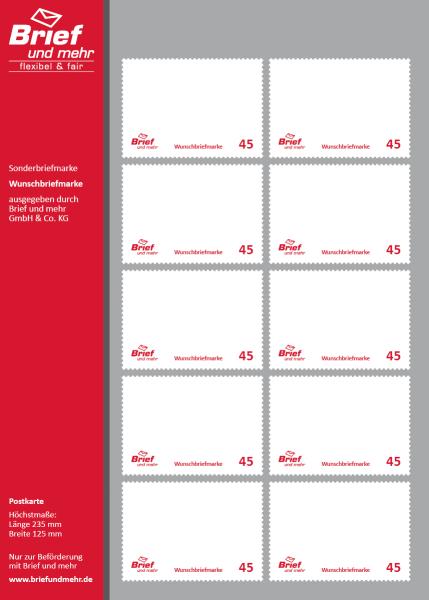 Wunschbriefmarke 45ct Block Mit 500 Briefmarken Wunschbriefmarke
